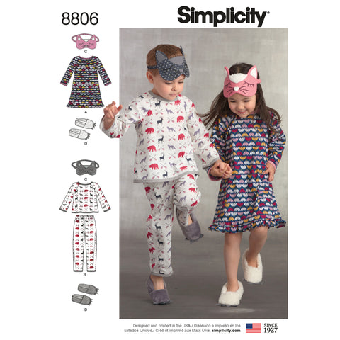 Simplicity Sewing Pattern 8806 - Child Dress, Top, Pants, Eye Mask and Slippers