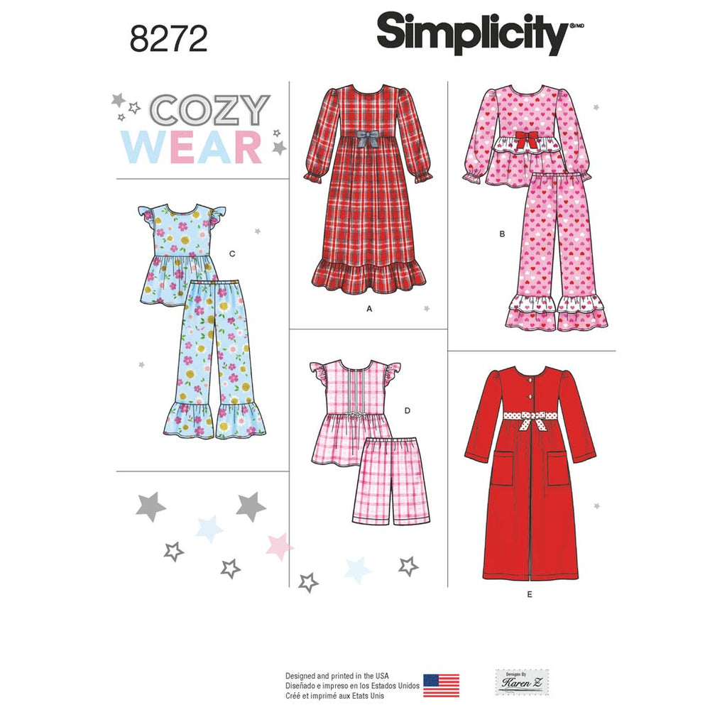 Simplicity Sewing Pattern 8272 - Child's and Girl's Sleepwear and Robe