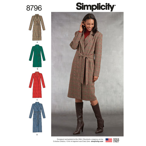 Simplicity Sewing Pattern 8796 - Misses/ Petite Lined Coat