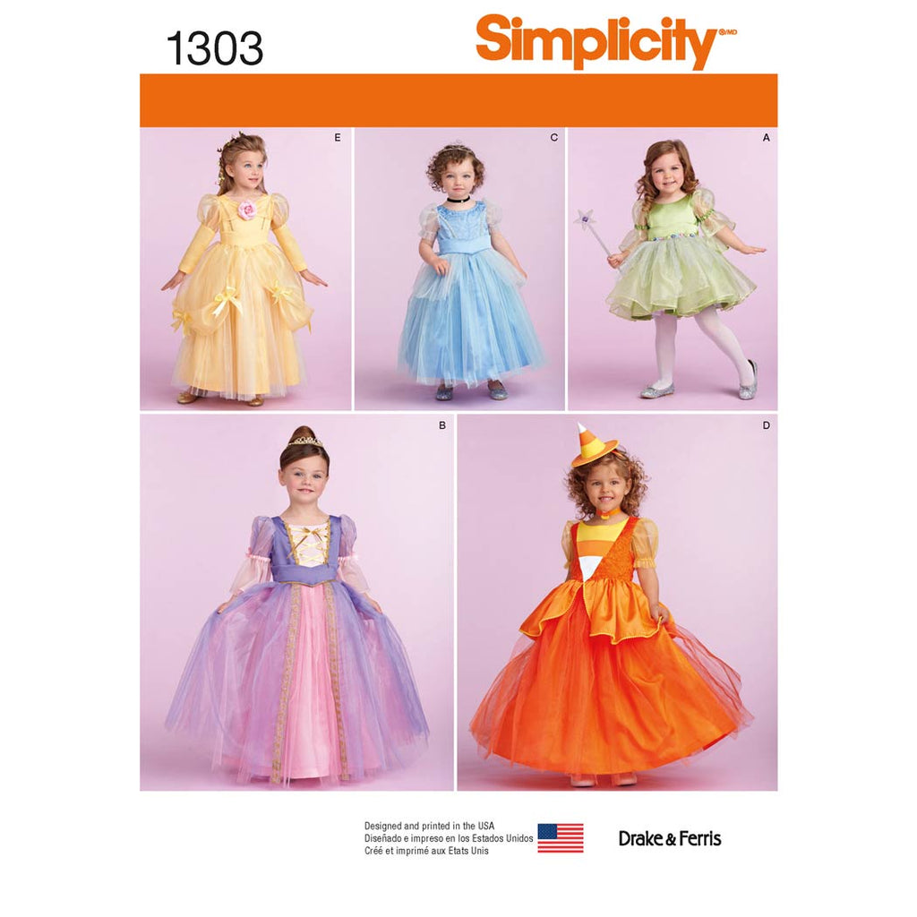 Simplicity Sewing Pattern 1303 - Toddlers' and Child's Costumes