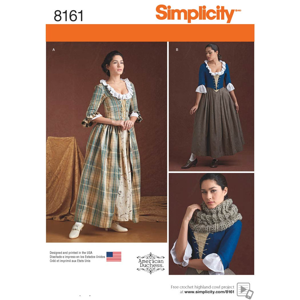 Simplicity Sewing Pattern 8161 - Women's 18th Century Costumes
