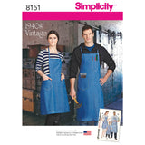 Simplicity Sewing Pattern 8151 - Vintage Aprons for Boys, Girls, Women's and Men