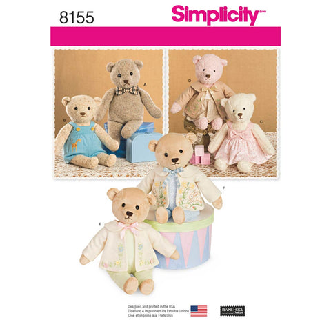 Simplicity Sewing Pattern 8155 - Stuffed Bears with Clothes