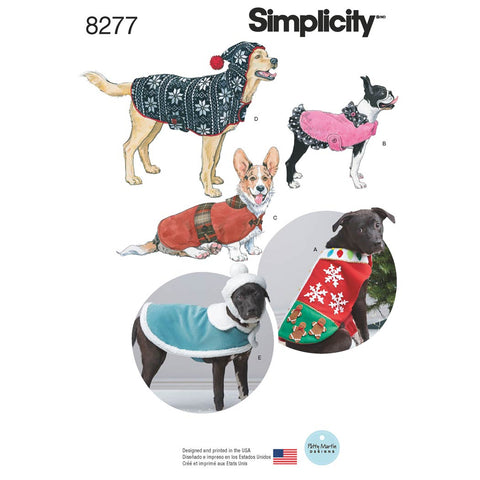 Simplicity Pattern 8277 - Fleece Dog Coats and Hats in Three Sizes