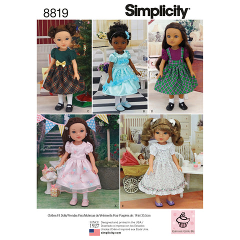 "Simplicity Sewing Pattern 8819 - 14"" Doll Clothes"