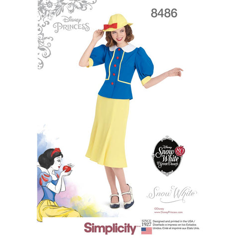 Simplicity Sewing Pattern 8486 - Women's 1930's Snow White Dress and Hat
