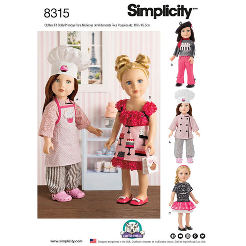 "Simplicity Sewing Pattern 8315 - 18"" Chef Doll Clothes"