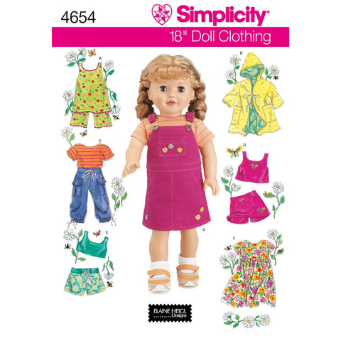 Simplicity Sewing Pattern 4654 - Doll Clothes