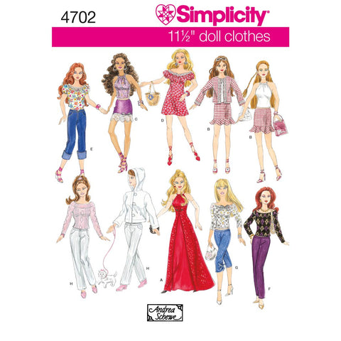 Simplicity Sewing Pattern 4702 - Doll Clothes