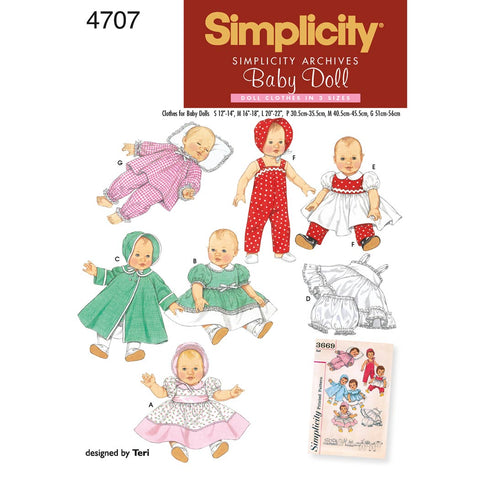 Simplicity Sewing Pattern 4707 - Doll Clothes