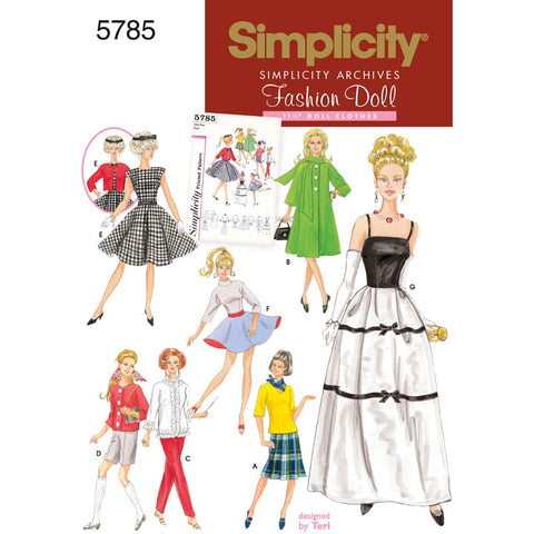 Simplicity Sewing Pattern 5785 - Doll Clothes