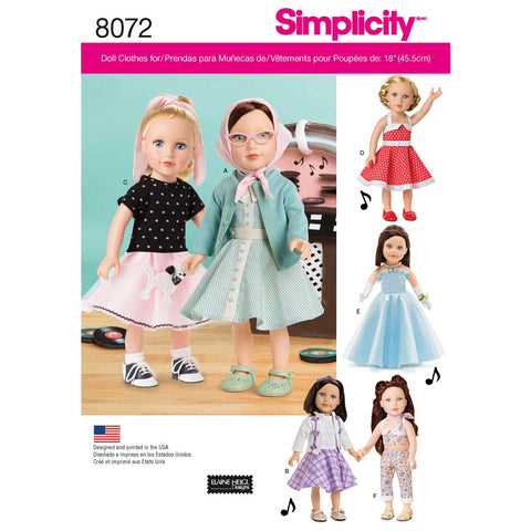 "Simplicity Sewing Pattern 8072 - Vintage Inspired 18"" Doll Clothes"