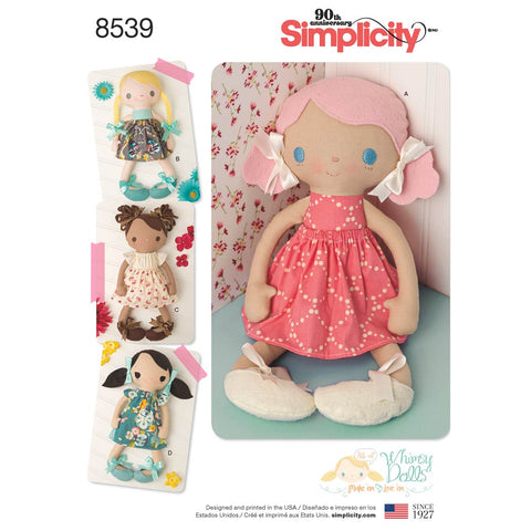 "Simplicity Sewing Pattern 8539 - 15"" Stuffed Dolls and Clothes"