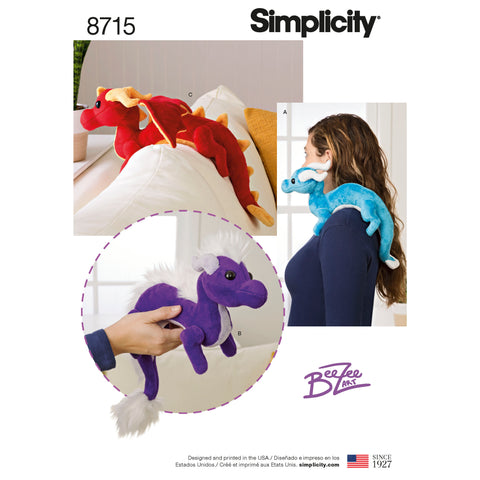 Simplicity Sewing Pattern 8715 - Stuffed Dragons