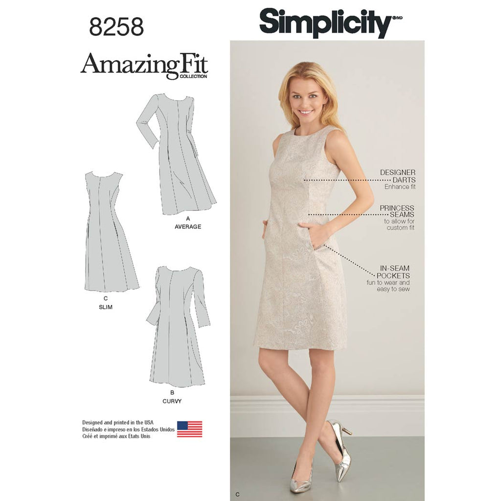Simplicity Sewing Pattern 8258 - Women's and Plus Size Amazing Fit Dress