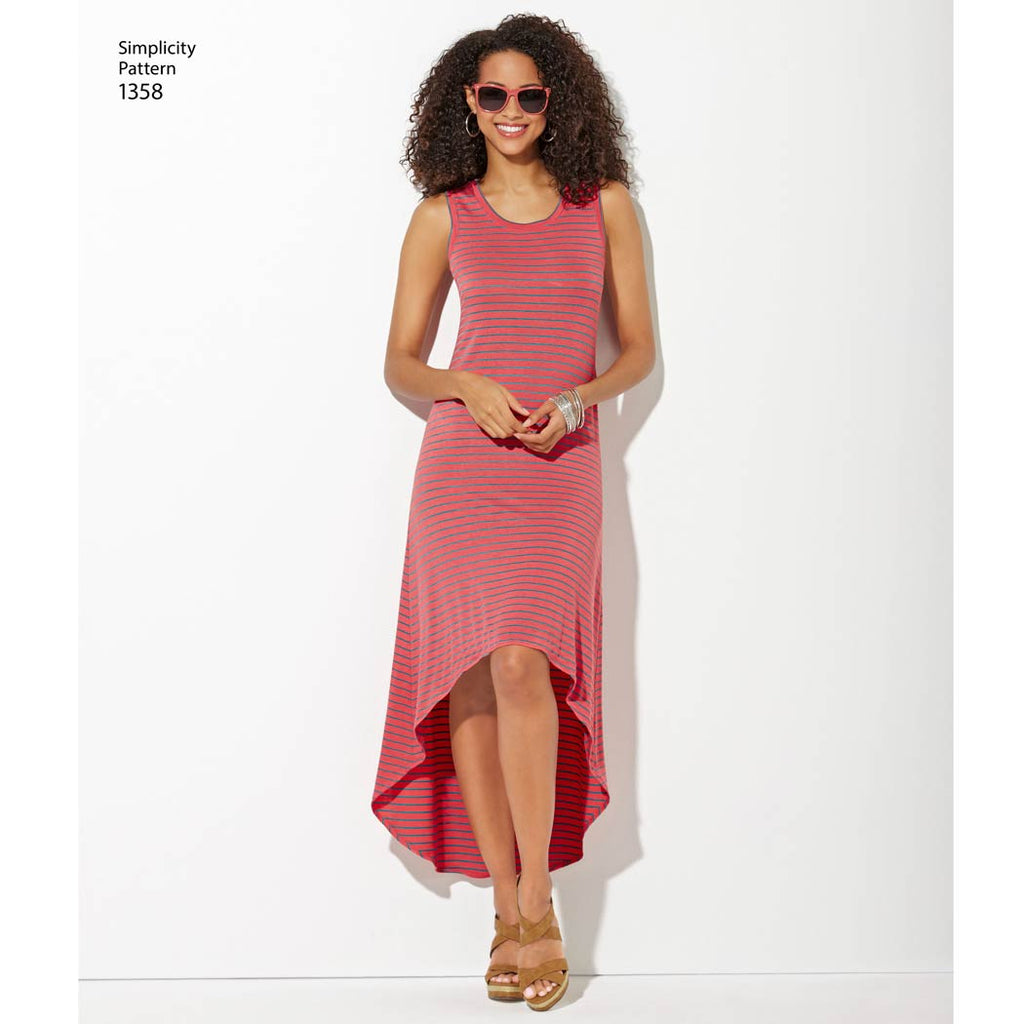 Simplicity Pattern 1358 - Women's Knit Dresses with Length and Neckline Variations