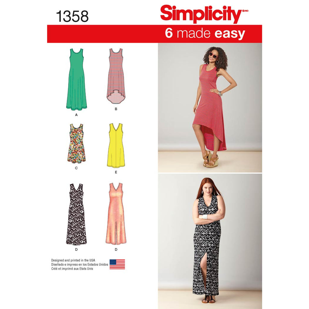 Simplicity Sewing Pattern 1358 - Women's Knit Dresses with Length and Neckline Variations