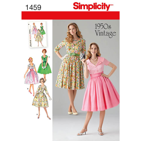 Simplicity Sewing Pattern 1459 - Women's and Petite 1950's Vintage Dress