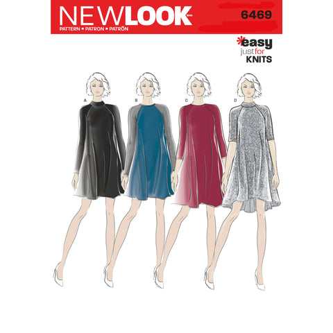 New Look Sewing Pattern 6469 - Misses' Easy Knit Dress with Length and Sleeve Variations