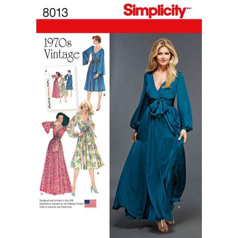 Simplicity Sewing Pattern 8013 - Women's Vintage 1970's Dresses'