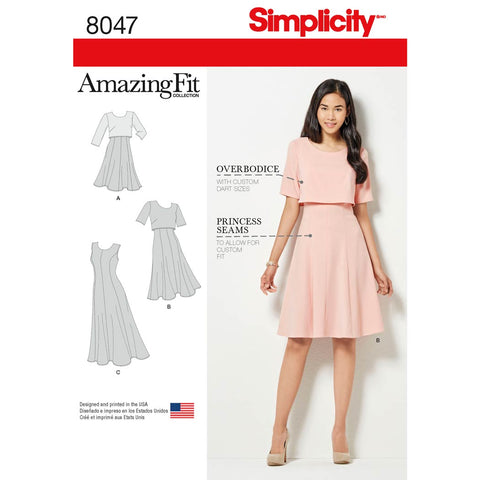 Simplicity Sewing Pattern 8047 - Amazing Fit Women's Dress in Slim, Average & Curvy Fit