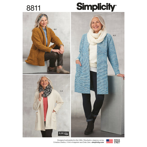 Simplicity Sewing Pattern 8811 - Misses' Knit Sweater, Scarf and Headband