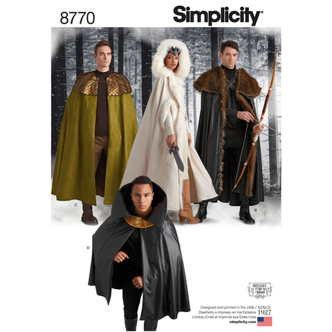 Simplicity Sewing Pattern 8770 - Unisex Costume Capes