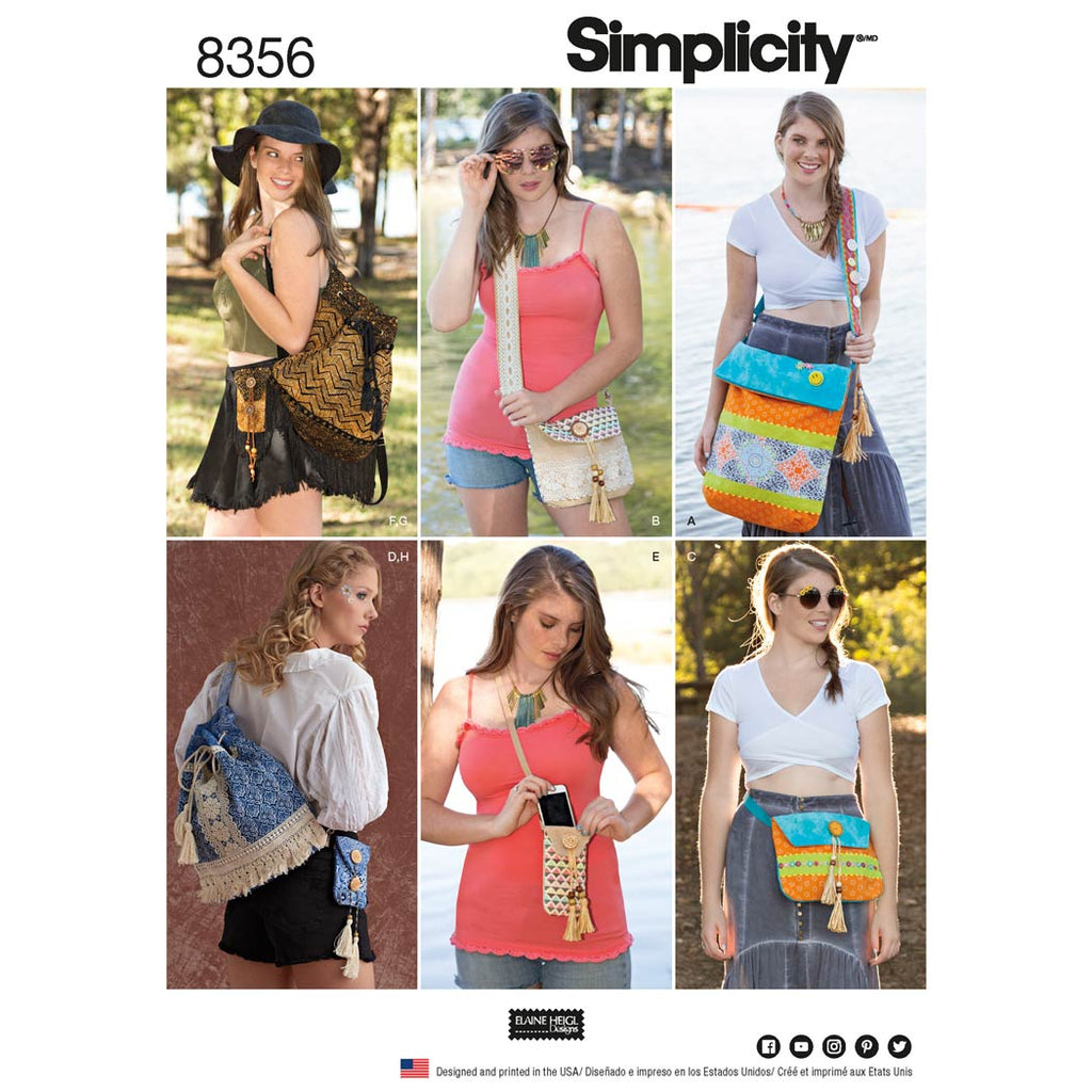 Simplicity Sewing Pattern 8356 - Festival Bags in Four Sizes