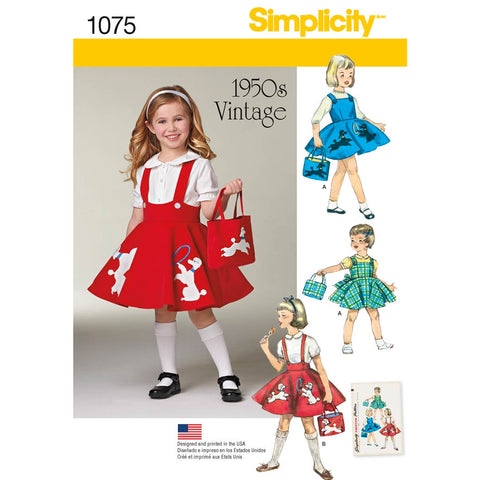 Simplicity Sewing Pattern 1075 - Child's Jumper, Skirt and Bag