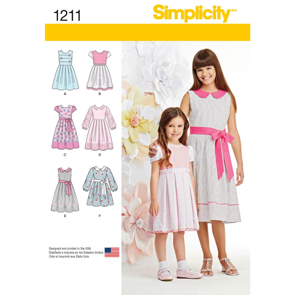 Simplicity Sewing Pattern 1211 - Child's and Girls' Dress in two lengths