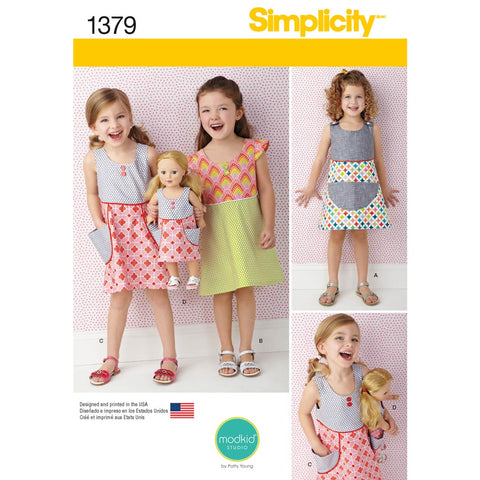 "Simplicity Sewing Pattern 1379 - Child's Dress and Dress for 18"" Doll"