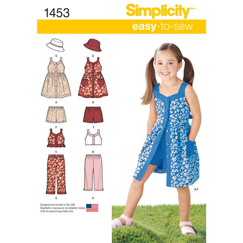 Simplicity Sewing Pattern 1453 - Child's Dress, Top, Trousers or Shorts and Hat