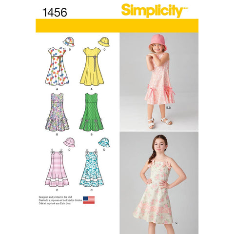 Simplicity Sewing Pattern 1456 - Child's and Girls' Dress with Bodice Variations and Hat