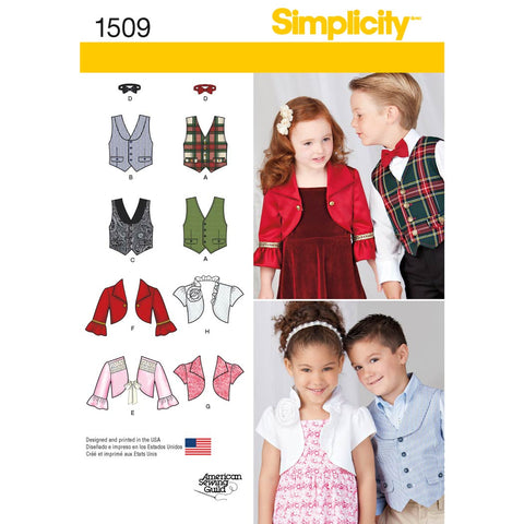 Simplicity Sewing Pattern 1509 - Child's Vest, Bolero and Bow Tie