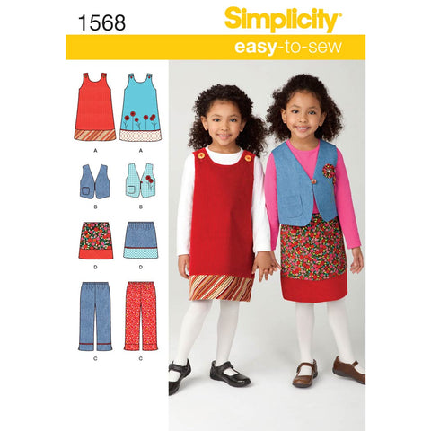 Simplicity Sewing Pattern 1568 - Child's Jumper, Vest, Trousers and Skirt