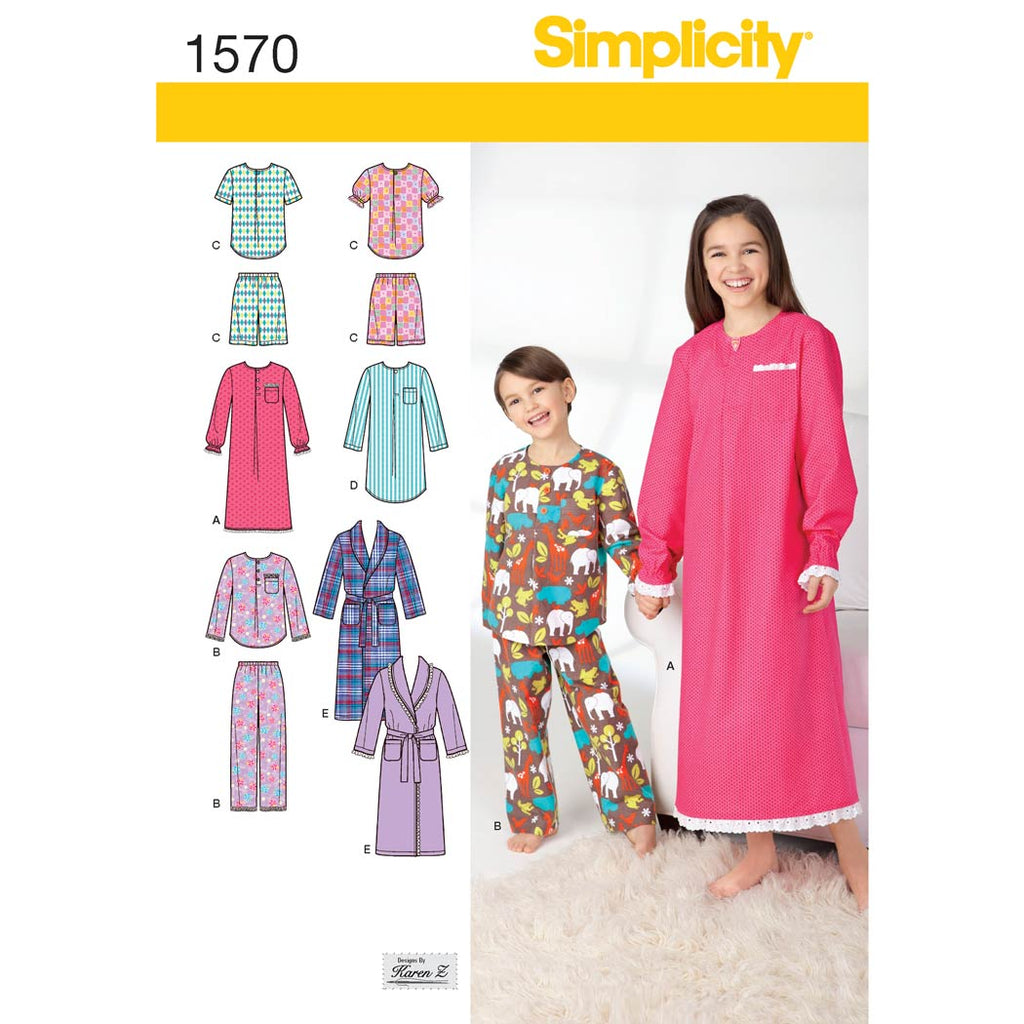 Simplicity Sewing Pattern 1570 - Child's, Girls', and Boys' Loungewear
