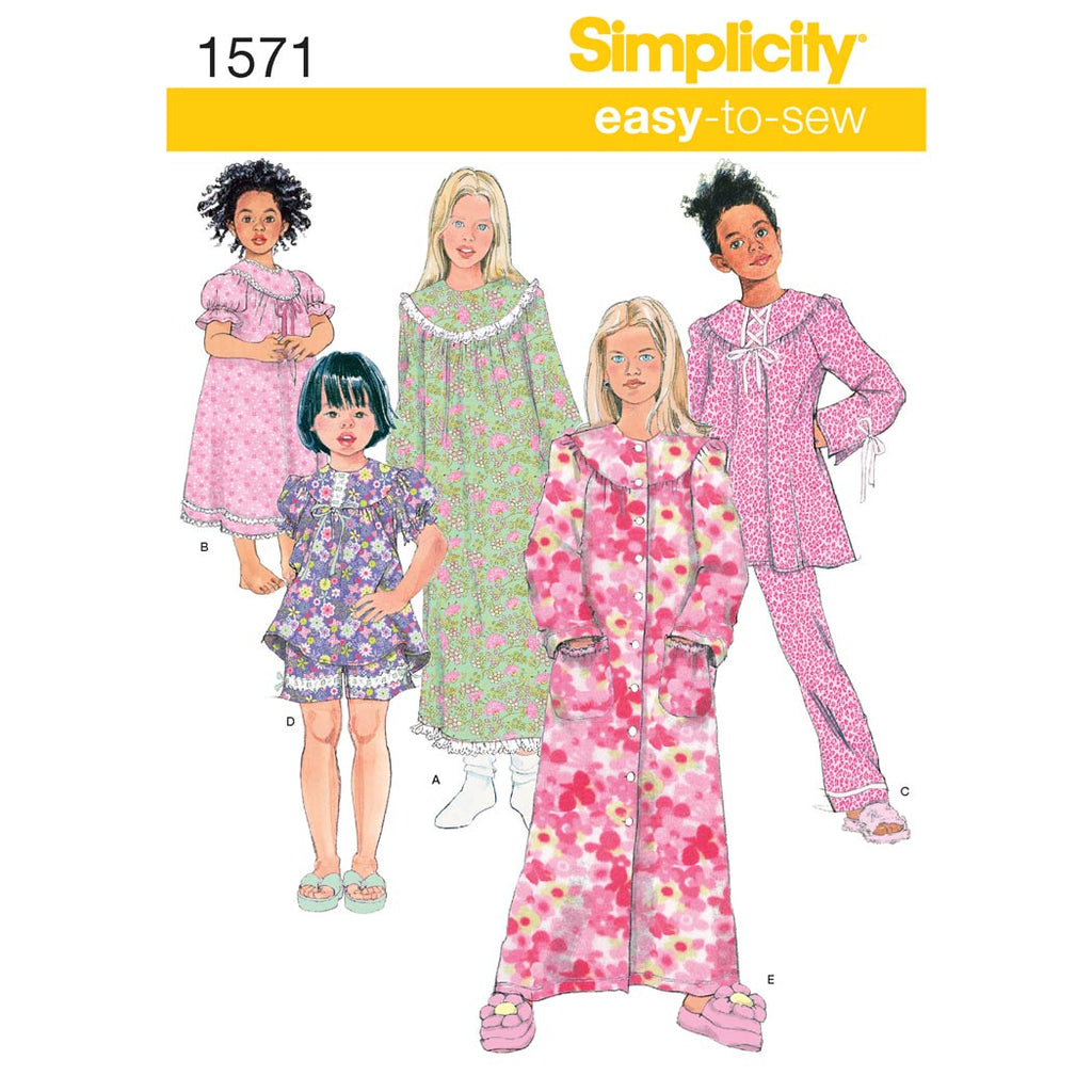Simplicity Sewing Pattern 1571 - Child's and Girl's Loungewear Separates