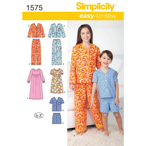 Simplicity Sewing Pattern 1575 - Child's, Girl's and Boy's Loungewear