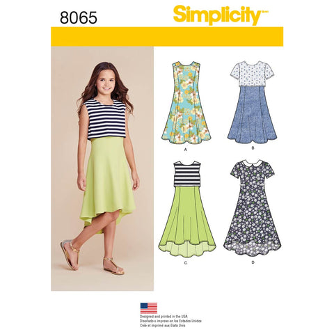 Simplicity Sewing Pattern 8065 - Girls' and Girls' Plus Dress or Popover Dress