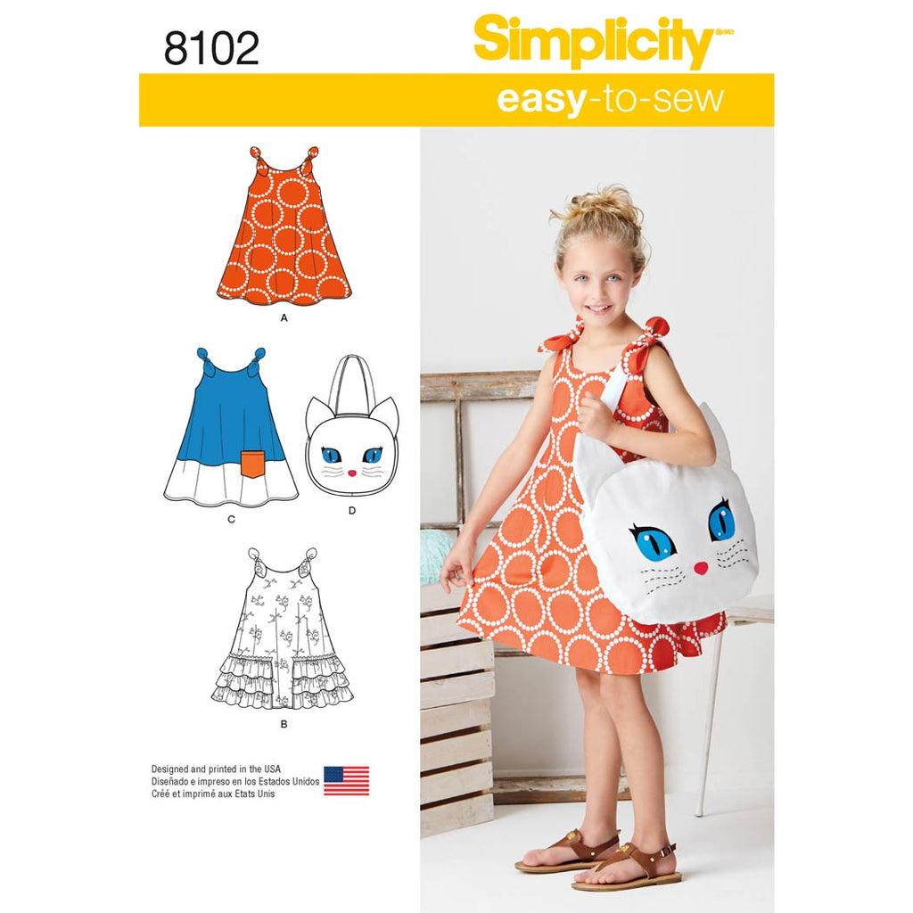 Simplicity Sewing Pattern 8102 - Child's Easy-to-Sew Sundress and Kitty Tote