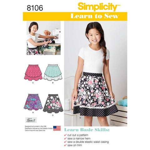 Simplicity Sewing Pattern 8106 - Learn To Sew Skirts for Girls and Girls Plus