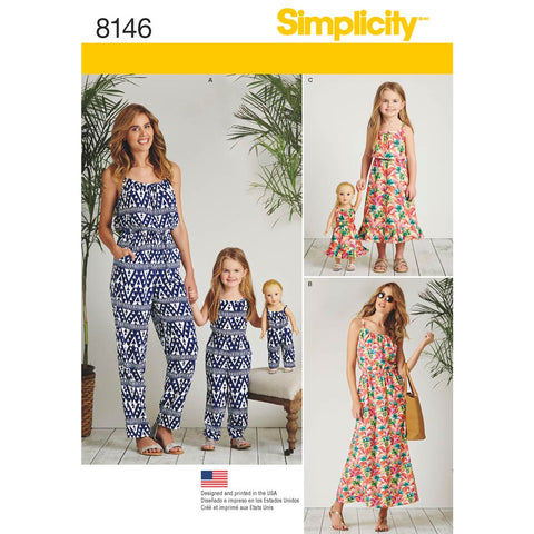 "Simplicity Sewing Pattern 8146 - Matching outfits for Women's, Child and 18"" Doll"
