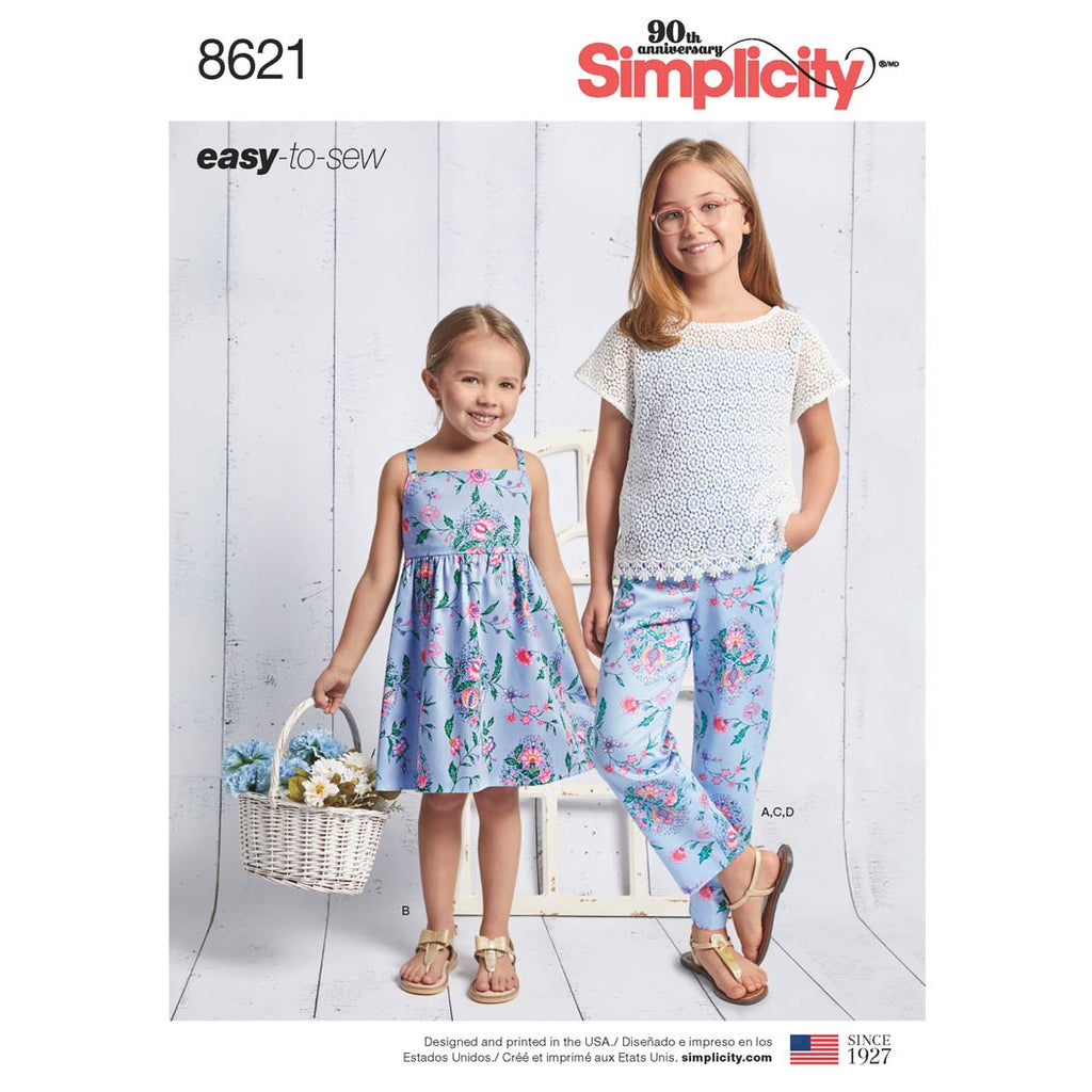 Simplicity Sewing Pattern 8621 - Child's and Girls' Dress, Top, Trousers and Camisole