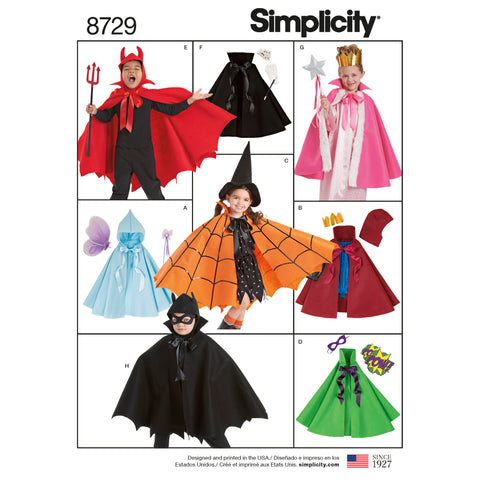Simplicity Sewing Pattern 8729 - Child's Cape Costumes