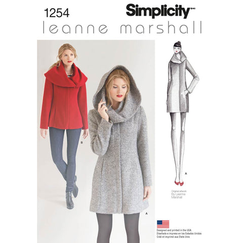 Simplicity Sewing Pattern 1254 - Women's Leanne Marshall Easy Lined Coat or Jacket