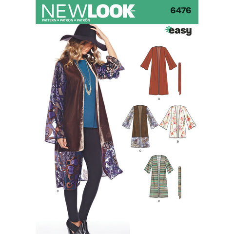 New Look Sewing Pattern 6476 - Misses' Easy Kimono with Length and Sleeve Variation