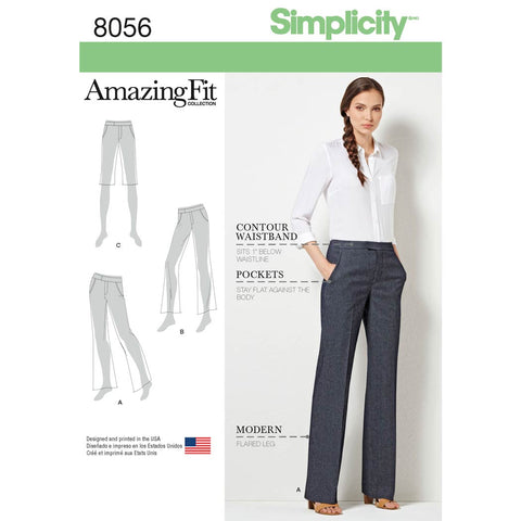 Simplicity Sewing Pattern 8056 - Amazing Fit Women's and Plus Size Flared Trousers or Shorts