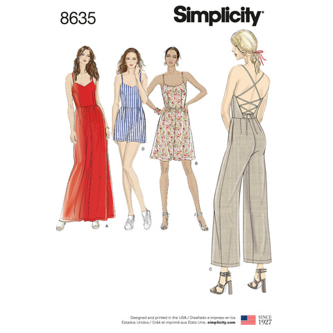 Simplicity Sewing Pattern 8635 - Women's Dress, Jumpsuit and Romper