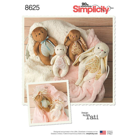 Simplicity Sewing Pattern 8625 - Stuffed Animals and Gift Bags