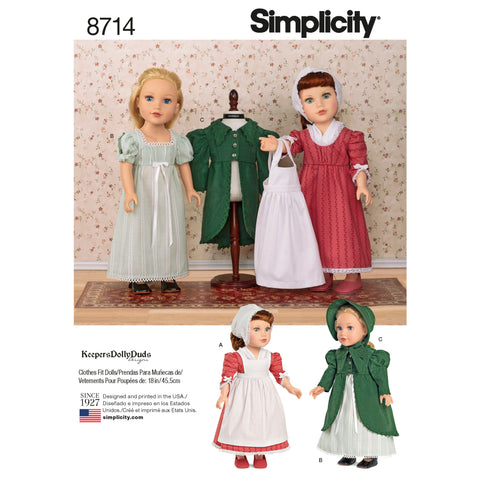 "Simplicity Sewing Pattern 8714 - 18"" Doll Clothes"